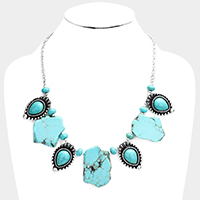 Abstract Turquoise Vintage Navajo Teardrop Bib Necklace