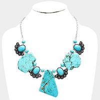Abstract Turquoise Vintage Navajo Oval Bib Necklace