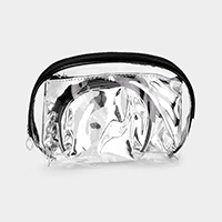 3PCS - Clear Glossy Triple Cosmetic Pouch Bags