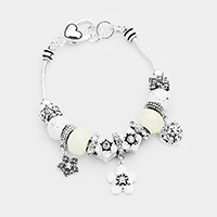 Multi Bead Flower Heart Charms Bracelet