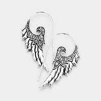 Antique Wing Pave Rhinestone Long Fish Hook Earrings