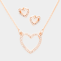 Pave Crystal Rhinestone Heart Pendant Necklace