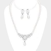 Pave Crystal Rhinestone Floral Pearl Necklace