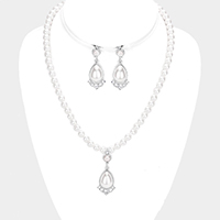 Crystal Rhinestone Teardrop Pearl Dangle Necklace