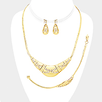 3PCS Pave Crystal Rhinestone Necklace Jewelry Set