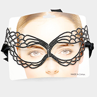 Pave Rhinestone Cat Eyes Venetian Mask