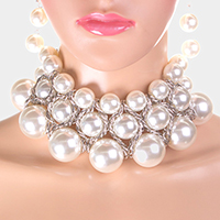Triple Strand Pearl Choker Necklace