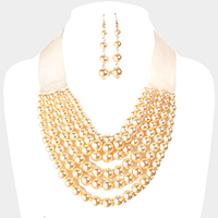 Velvet Multi Strand Pearl Bib Necklace