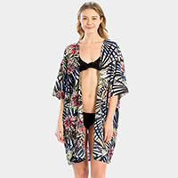 Tropical Print Cover Up Poncho