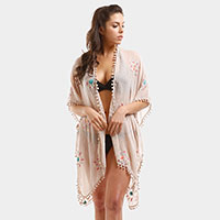 Embroidery Flower Cover Up Poncho