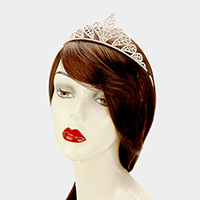 Pave Crystal Rhinestone Leaf Pageant Queen Tiara