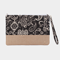 Paisley Pattern Print Canvas Clutch Bag