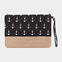Anchor Pattern Canvas Clutch Bag