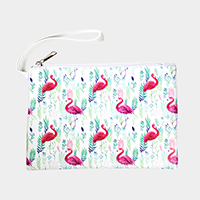 Flamingo Leaf Pattern Print Pouch Bag