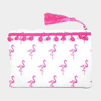 Flamingo Pattern Print Tiny Pom Pom Tassel Pouch Bag