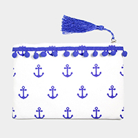 Anchor Pattern Print Tiny Pom Pom Tassel Pouch Bag
