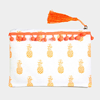 Pineapple Pattern Print Tiny Pom Pom Tassel Pouch Bag