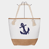 Anchor Print Straw Detail Tote Bag