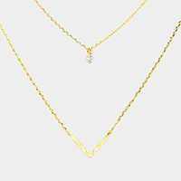 Layered Brass Cubic Zirconia Metal Chevron Pendants Necklace