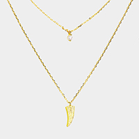 Layered Brass Cubic Zirconia Metal Horn Pendants Necklace