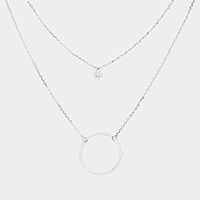 Layered Brass Cubic Zirconia Metal Hoop Pendants Necklace