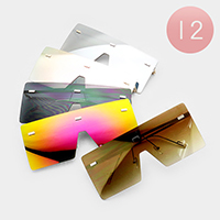 12PCS - Oversized Rimless Square Sunglasses