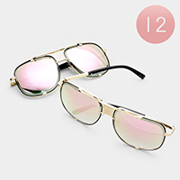 12PCS - Oversized Retro Mirrored Lens Sunglasses