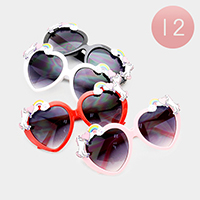 12PCS - Oversized Heart Frame Unicorn Detail Sunglasses