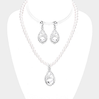 Pearl Pave Rhinestone Teardrop Accented Necklace