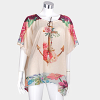 Floral Anchor Print Cover Up Poncho