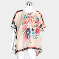 Floral Skull Print Cover Up Poncho
