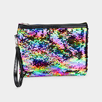 Reversible Sequin Clutch Bag