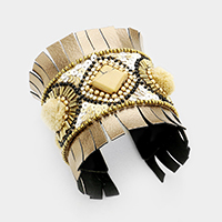Embroidery Sequin Square Bead Pom Pom Cuff Bracelet