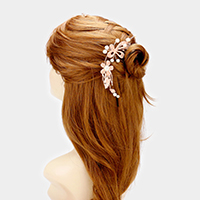 Crystal Rhinestone Flower Pearl Comb / Bun Wrap Headpiece