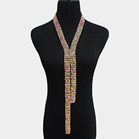 Long Drop Wide Pave Stone Y Shaped Necklace