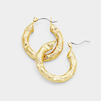 Bamboo Knocker Metal Hoop Pin Catch Earrings
