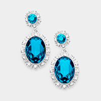 Oval Glass Crystal Dangle Evening Earrings