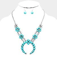 Floral Turquoise Double Horn Accented Necklace