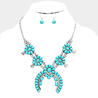 Turquoise Squash Blossom Double Horn Accented Necklace