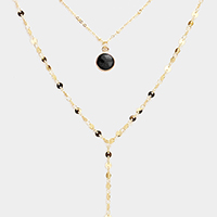 Layered Round Semi Precious Accented Y Shaped Necklace