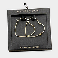 Secret Box _ 14K Gold Dipped Heart Hoop Earrings