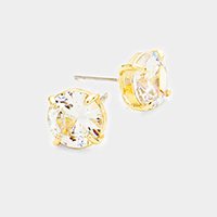 Cubic Zirconia Round Stud Earrings