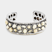 Tribal Antique Multi Shaped Howlite Cluster Cuff Bracelet