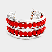 2Rows Red Coral Balls Cuff Bracelet