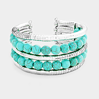 2Rows Turquoise Balls Cuff Bracelet