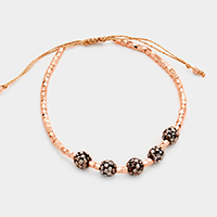 Metal Beaded Shamballa Balls Accented Cinch Bracelet