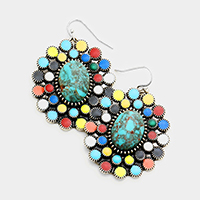 Antique Flower Concho Dangle Earrings