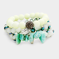 3PCS Multi Beaded Shamballa Ball Accented Stretch Bracelet