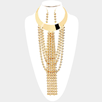 Draped Bubble Metal Chain Fringe Bib Necklace