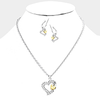Crystal Rhinestone Metal Heart Pendant Necklace